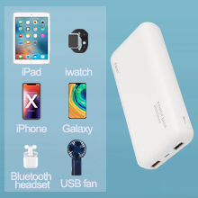 Powerbank for iPhone, iPad, iPod, iWatch, Samsung, Pixel, Android and wireless bluetooth devices.