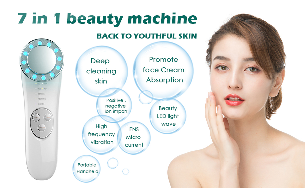 Facial Massager - 7 in 1 Face Cleaner Lifting Machine - High Frequency Machine - Promote Face Cream Absorption - LED Blue & Red Light Wave - Lift & Firm Tighten Skin Wrinkles - Skin Care Tools 11