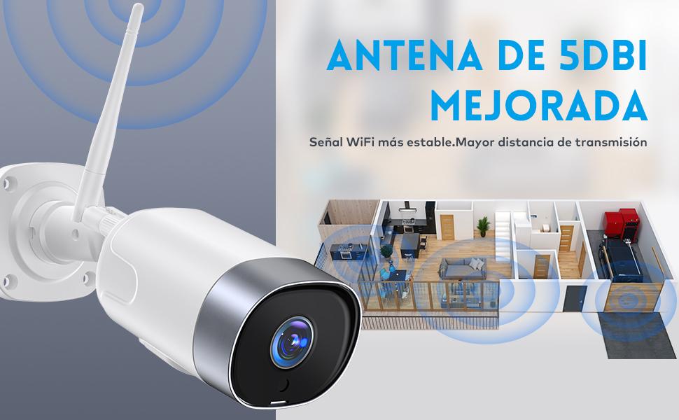 1080P Camara Vigilancia WiFi Exterior, SUPEREYE Cámara IP Seguridad con 5dBi Antena WiFi Cuerpo Metálico Visión Nocturna Audio de 2 Vías Impermeable ...
