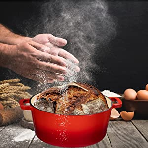 Pre-Seasoned 5 Quart Cast Iron Dutch Oven/Domed Skillet Lid for Breadmaking,Black