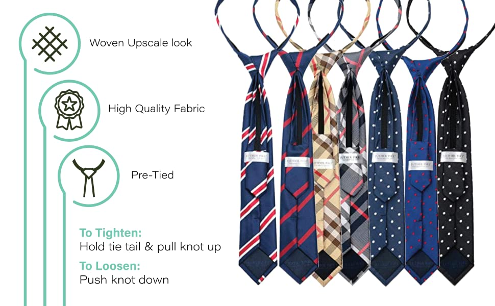 woven upscale, high quality fabric, pre-tied
