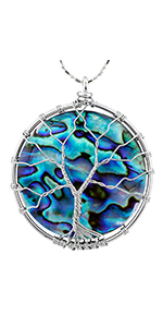Natural Abalone Shell Pendant Necklace for Women