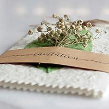 Handmade Real Dry Flower Vintage Wedding Invitations