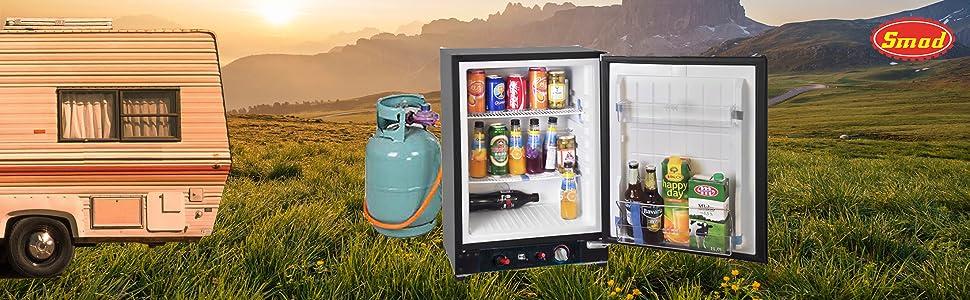 Smad Nevera Trivalente Gas, Frigorífico Absorcion Caravana Camper, Butano y 12v/220v, 60 litros, Negro