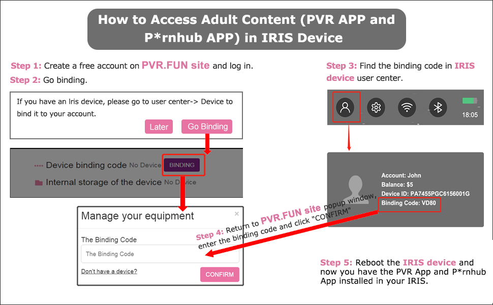 how to access adult content in pvr iris vr headset
