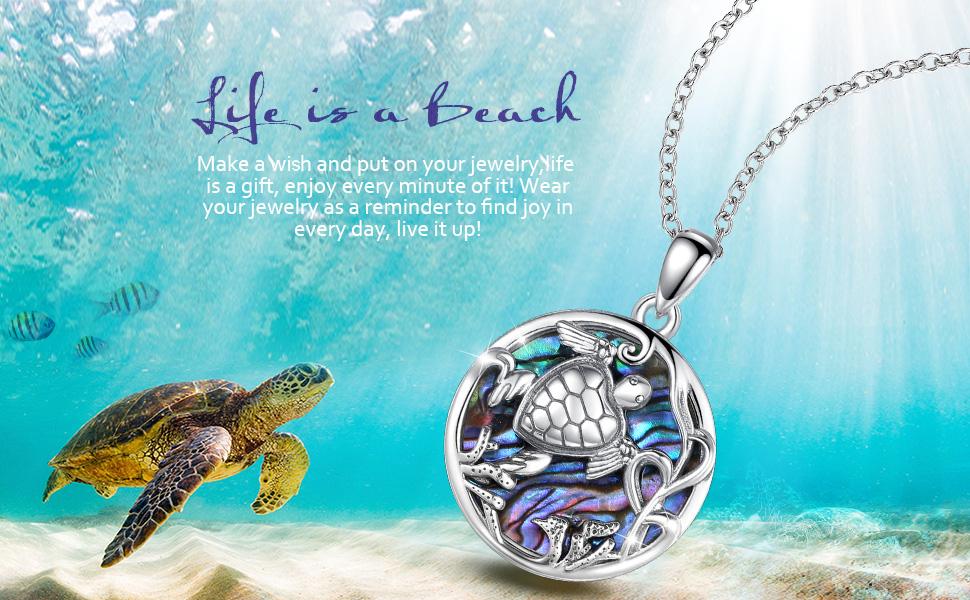 Coastal SEA TURTLE and tumbled Sea Glass SeaFoam Aqua  18\u201d  Abalone Necklace