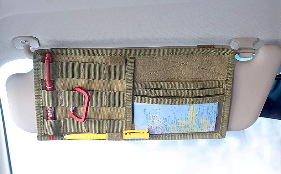tacticalcar accessory,vehicle accessory,visor panel,visor panel cover,tactical,molle,loop patch