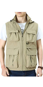 Mens Lightweight Outdoor Work Fishing Travel Photo Vest with Removable Hood