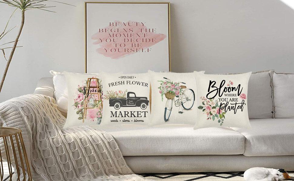 Farmhouse Floral Throw Pillow Covers