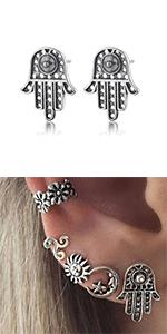 Vintage Hamsa Hand Earrings Stud