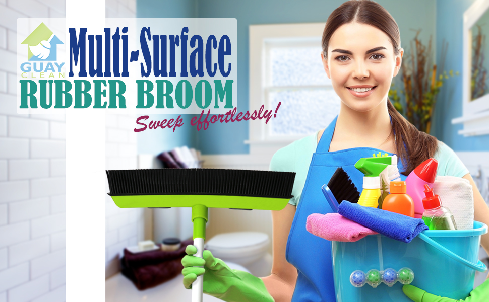 Rubber Broom with Soft Bristles and Squeegee for Floor and window cleaning at home office outdoor