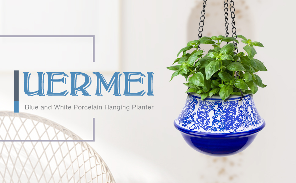 UERMEI Blue and White Porcelain Hanging Planter
