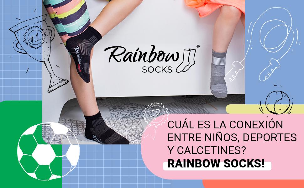 Cuál es la conexión entre niños, deportes y calcetines? Rainbow Socks!