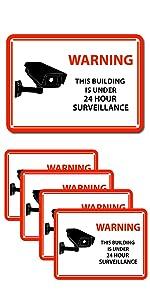 Crafts 24 Hour Video Surveillance Sign, Security Camera Sign, Rectangular Aluminum Warning Sign red