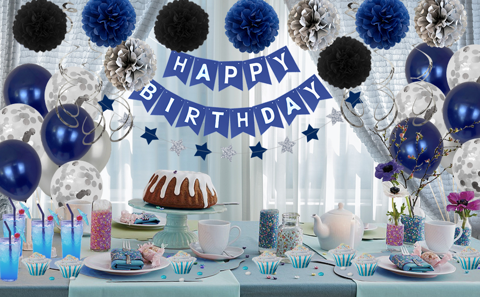 Blue birthday decorations for men 20th 30th 40th 50th 60th 70th