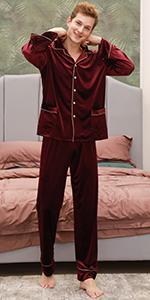 YAOMEI Mens Pyjamas Set Long, Mens Long Sleeves Nighties Couples PJ Set Sleepwear Nightwear