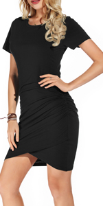 GRECERELLE Women's Sexy Ruched Stretchy Dress Crew Neck Casual Bodycon T Shirt Short Mini Dresses