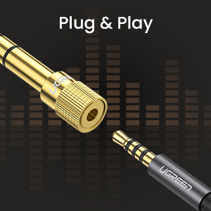 UGREEN 6.35Mm Male To 3.5Mm Female Stereo Audio Adapter Gold Plated 2 Pack
