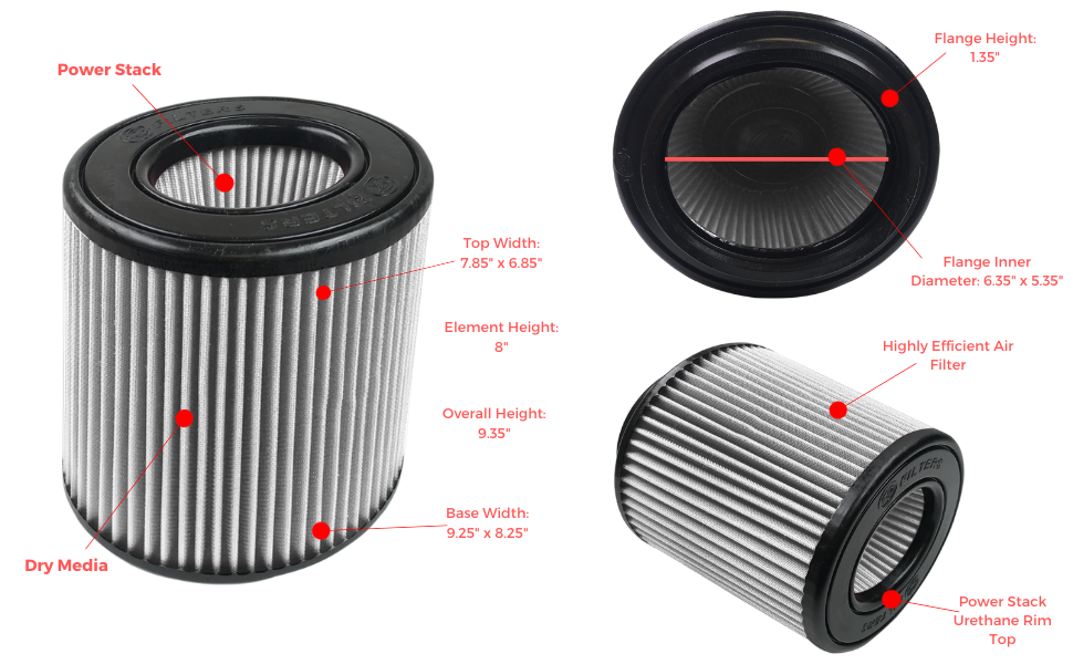 S/&B Filters KF-1057D High Performance Replacement Filter Dry Extendable