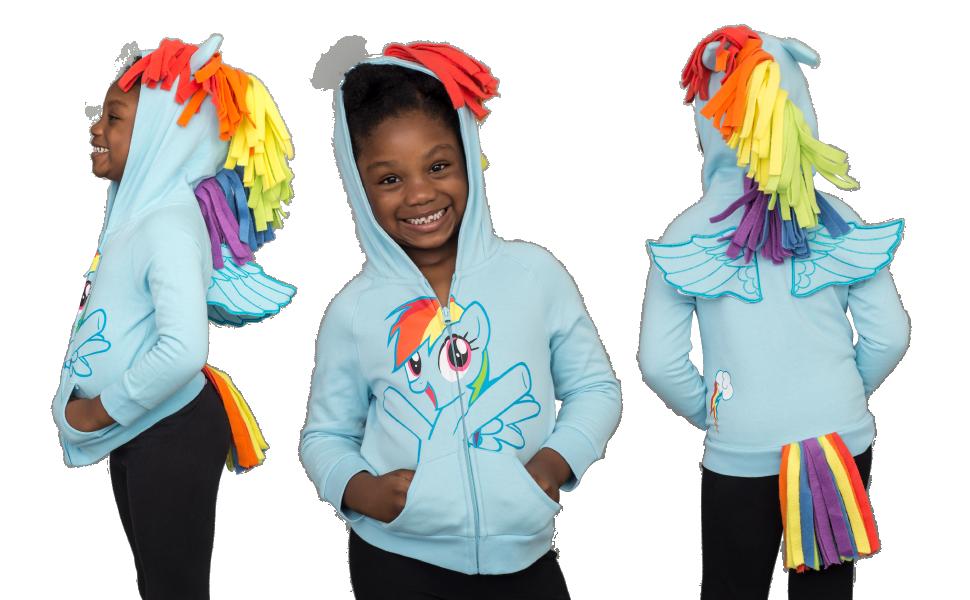 My Little Pony Rainbow Dash Blau M/ädchens Kost/üm Hoodie Sweatshirt