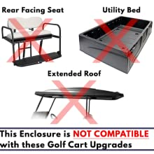 golf cart covers, golf cart enclosures, upgrades, rear facing seat, utility boxes, extended roofs