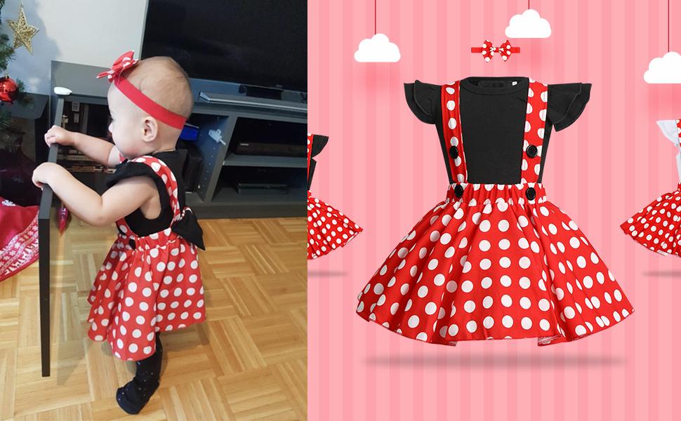 Baby Girls Birthday Christmas Polka Dot Dress Top Suspenders Skirt Outfit Set
