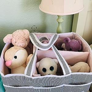 pink diaper caddy