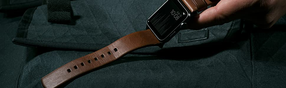 Nomad Modern Strap for Apple Watch 40mm/38mm Rustic Brown Horween Leather Black Hardware