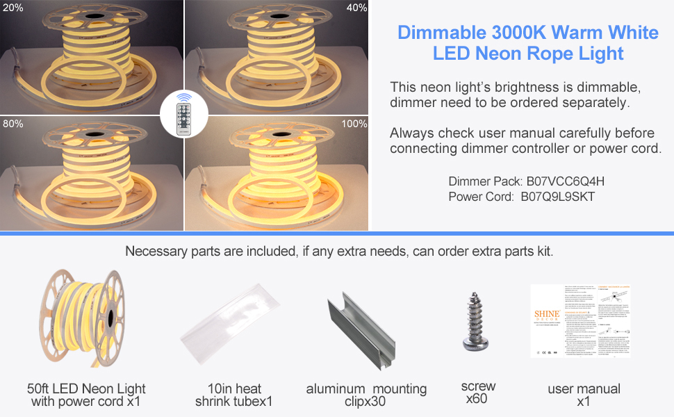 Shine Decor 3000K Warm White LED Neon Rope Light