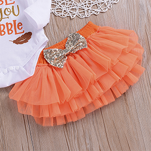 Pleated Tutu Skirts Thankgsgiving Outfits Set Baby Girls Gobble Til You Wobble Long Sleeve Romper