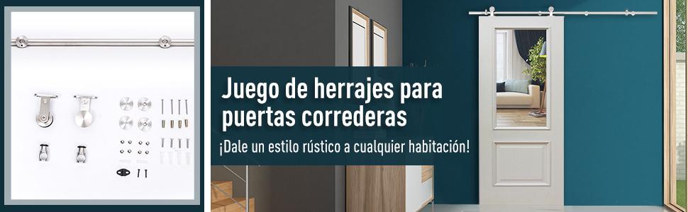 HOMCOM Kit Instalacion Puerta Corredera Madera Puertas Corredizas ...