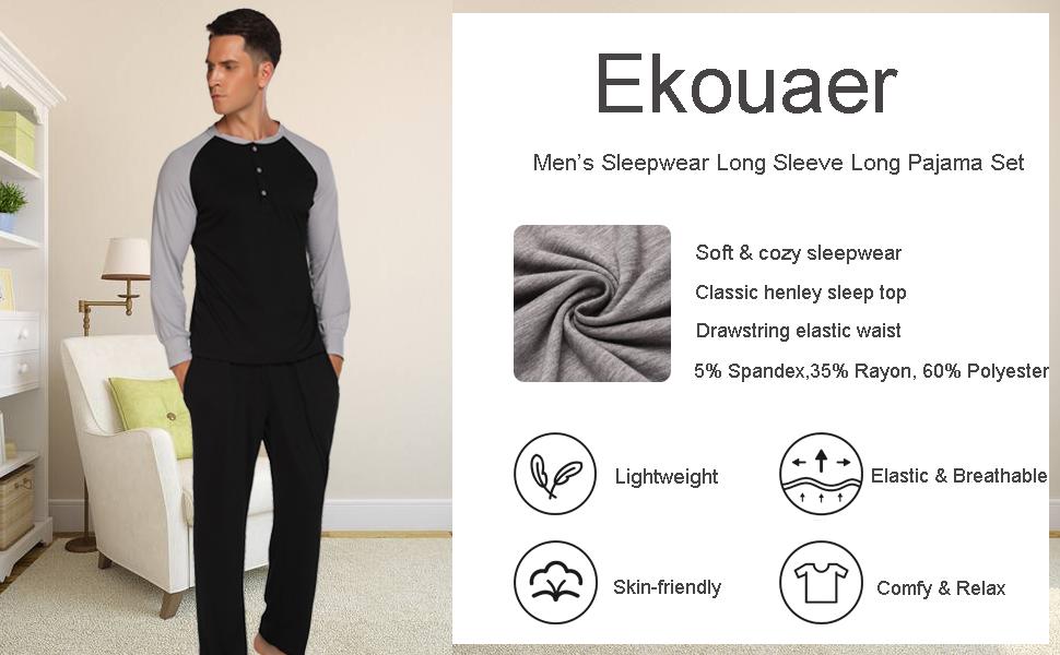 Ekouaer mens pajamas long sleeve sleepwear two piece pjs set