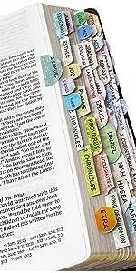 Bible Tabs, 72 Tabs (66 Books, 6 Blanks), High Gloss Paper, Bible Journaling Supplies