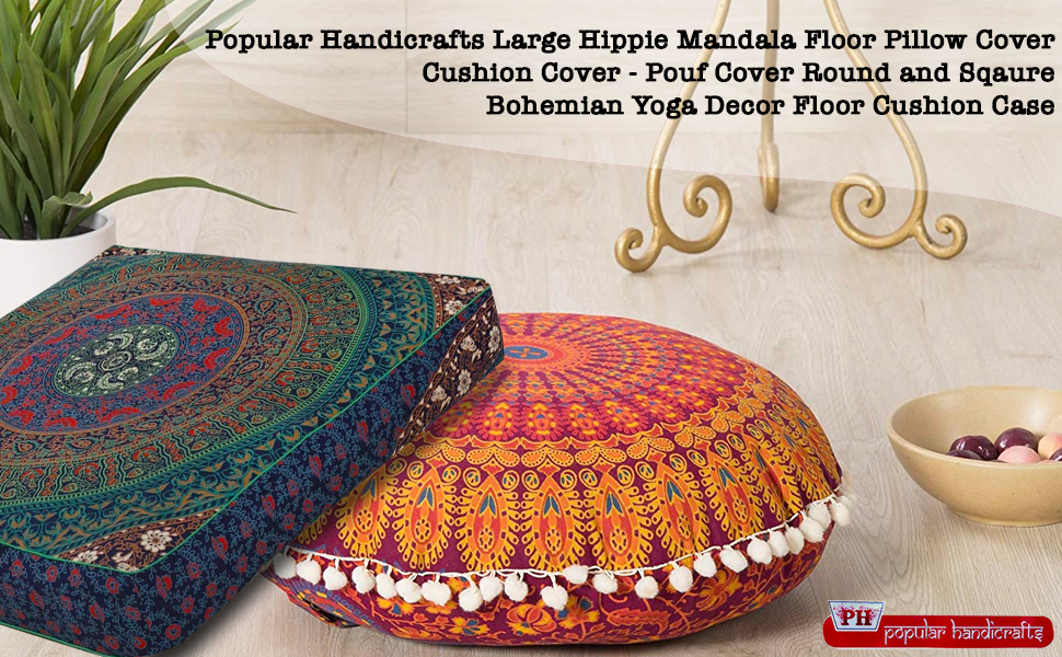 Vintage Handmade Mandala Floor Bohemian Indian Cushion Round Pillows cover Pouf