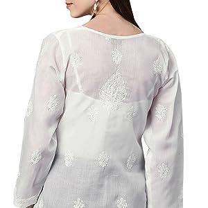 indian chikankari cotton kurta tunic shirt
