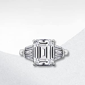 emerald cut ring, baguette ring, cubic zirconia, cocktail ring