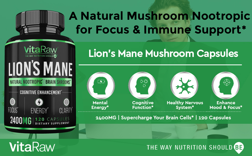 Organic Lions Mane Mushroom Capsules Brain Mushroom Supplement for Focus and Immune Support