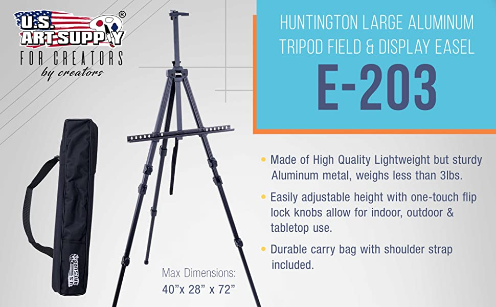 72 Inch Sturdy Aluminum Tripod Artist Field and Display Easel Stand
