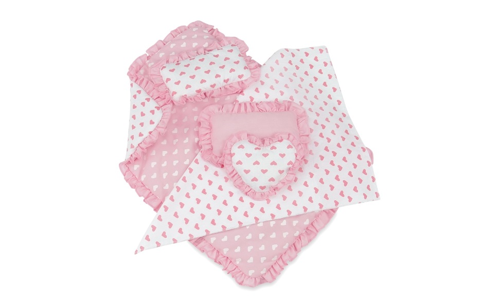 18 Inch Doll AccessoriesReversible Pink Heart Print Ruffled Bedding Set wi...