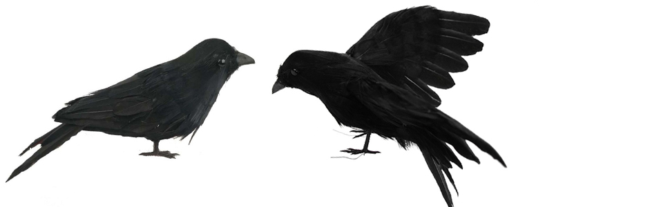 Flying Crow VEZARON Halloween Decoration Realistic Crows Halloween Handmade Crow Prop Feathered Black Crows Props Raven Scene Birds Decoration