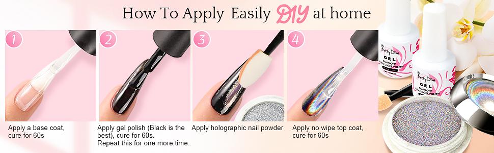 apply holo nail pigments