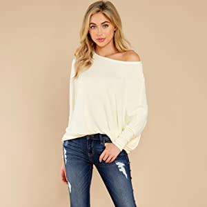 Womens Off The Shoulder Batwing Sleeve Casual Tops