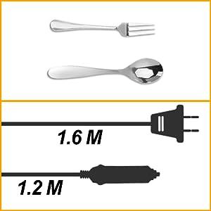 Cordon d'alimentation plus long / Couverts en inox