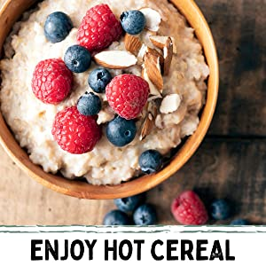 enjoy hot cereal raspberries blueberries in a breakfast hot cereal bowl