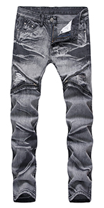 LONGBIDA Mens Ripped Slim Straight Fit Biker Jeans Moto Denim Pants with Zipper Deco