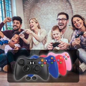 Xbox 360 controller game pad 2.4GHz range ergonomic design 4 players