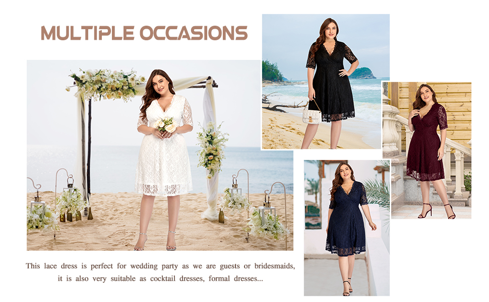 Women Lace V Neck Plus Size Cocktail Dress Knee Length Bridal Wedding Casual Party At Amazon Women S Clothing Store,Wedding Shower Dresses For Bride