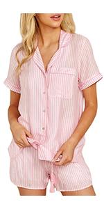 Button Down Stripe Short Sleeve Pajama Short Sets