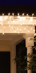 LED Icicle Lights on Gutter