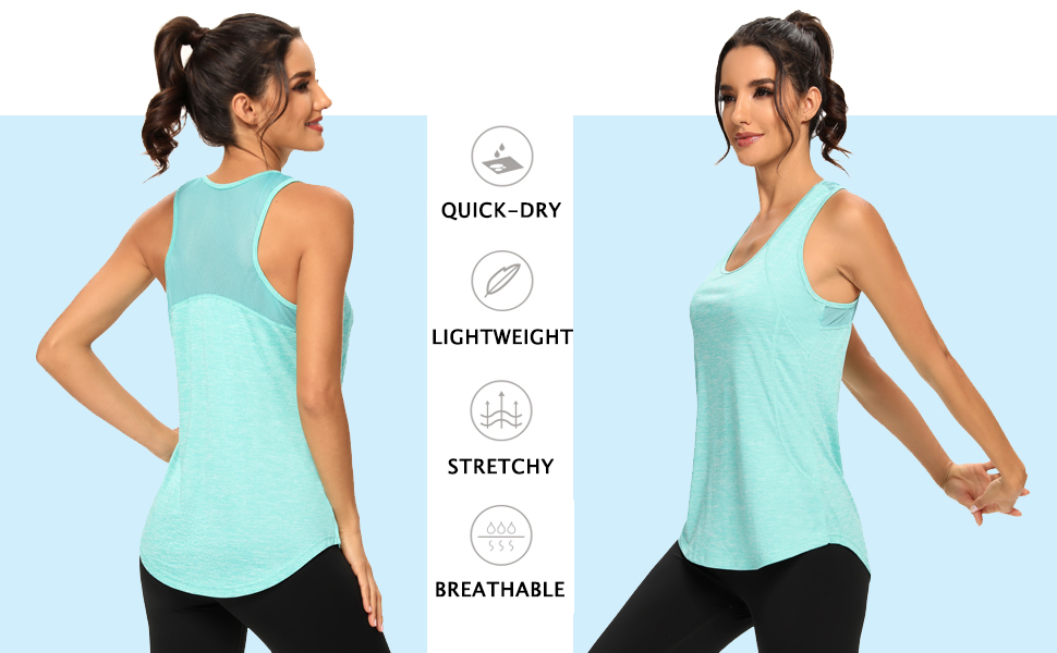 Racerback Mesh Workout Tops for Women